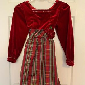 Christmas tartan pattern red dress with velvet top